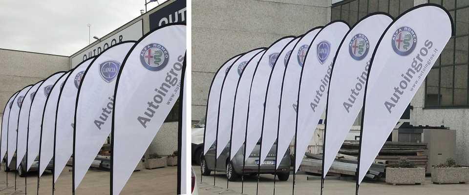 Stampa Bandiera a goccia L bandiera a vela bandiera a goccia large bandiere pubblicitarie drop display XL espositori fissi da pavimento espositori personalizzati online