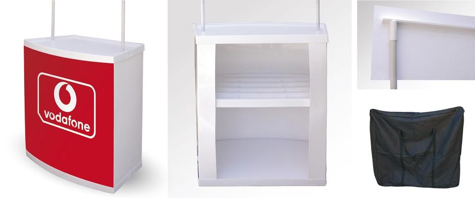 Desk Promostand allestimento stand desk promozionali banchetti promozionali desk pubblicitari Desk promozionali personalizzabili in alluminio e PVC semirigido per allestimento fiere e esposizioni. Visita il nostro sit Desk Pop Up promozionale
