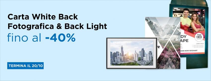 promo carta fotografica white back e back light