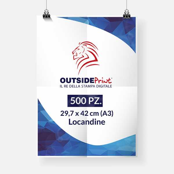 500 Locandine A3 (carta patinata 300 gr) Stampa online