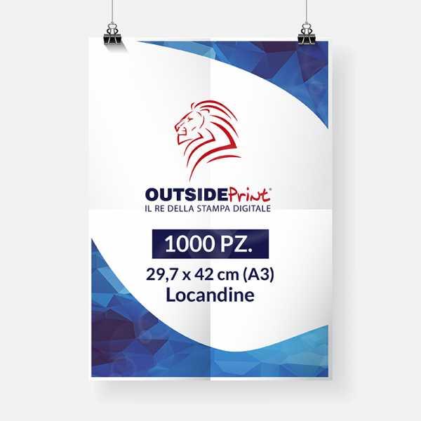 1000 Locandine A3 (carta patinata 300 gr) Stampa online