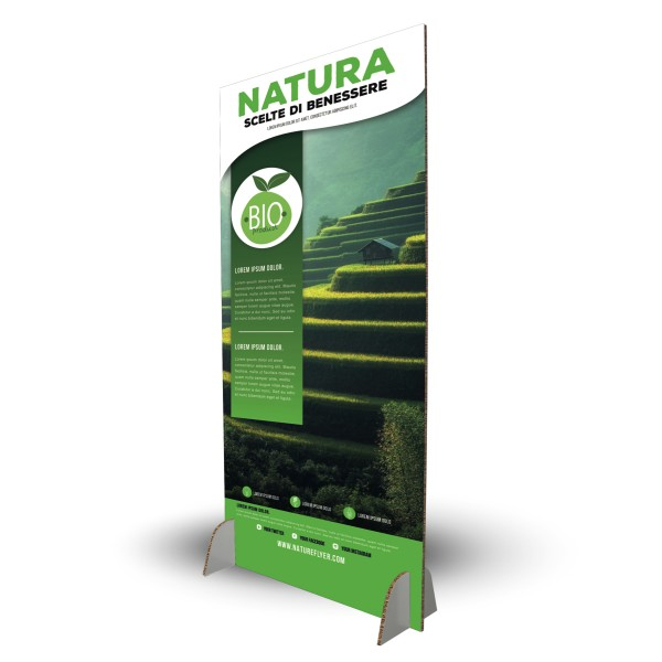 Totem pubblicitario in cartone ecologico