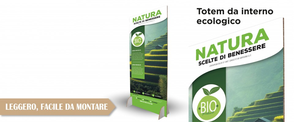 Online Totem pubblicitario in cartone ecologico